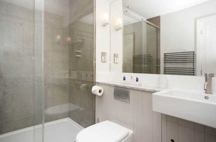 Stylish renovated shower room and wc