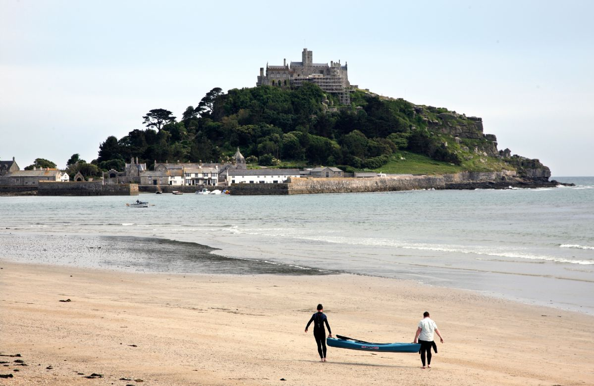 Beautiful sandy beaches looking out over St Michael's Mount