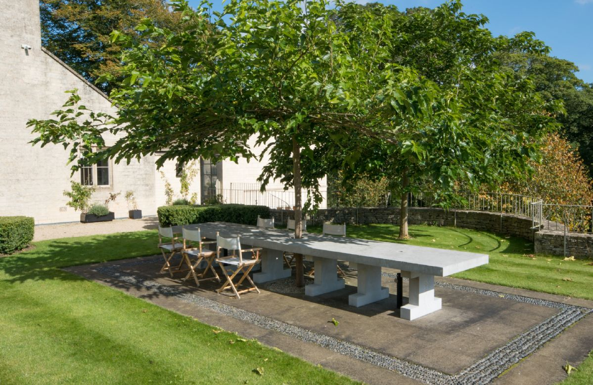 The outdoor seating area is perfect for al fresco dining