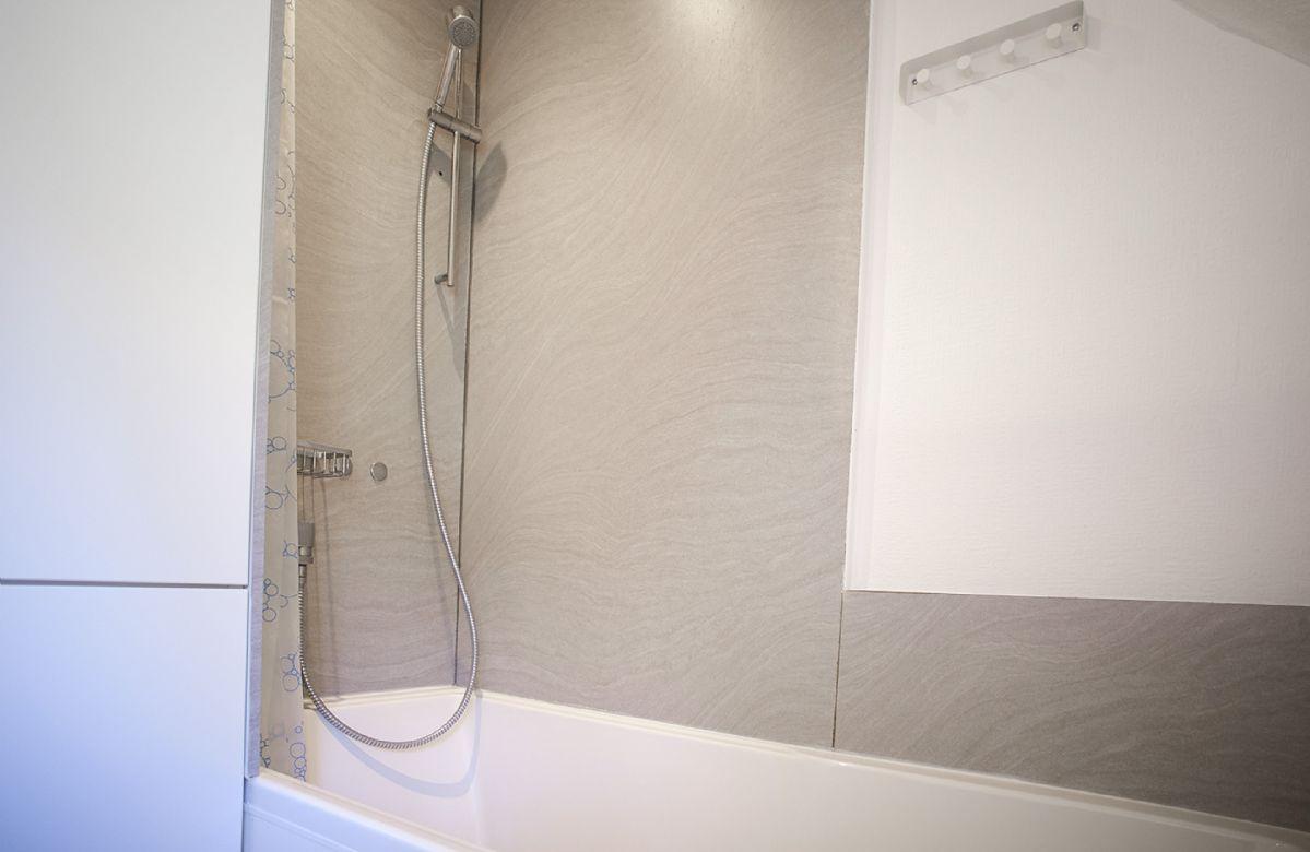 First floor:  Shower over bath