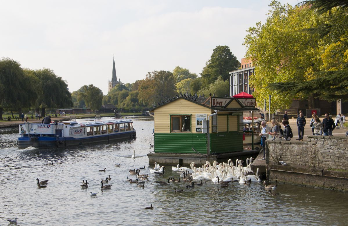 Take a boat trip on the River Avon at Stratford, located beside the Royal Shakespeare Theatre