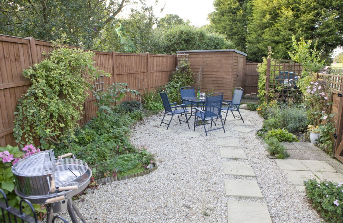 Small private garden with patio