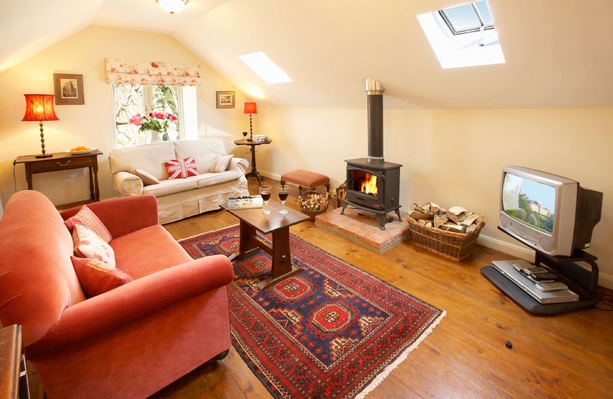 First floor: Sitting room with wood burning stove