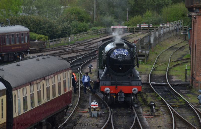 Large Image - Flying Scotsman on the Bluebell Railway in spring 2017