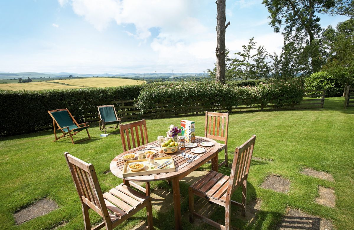 Uninterrupted views of rolling countryside from the cottage garden