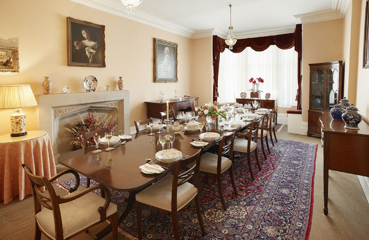 Ground floor: Large formal dining room for 12 guests