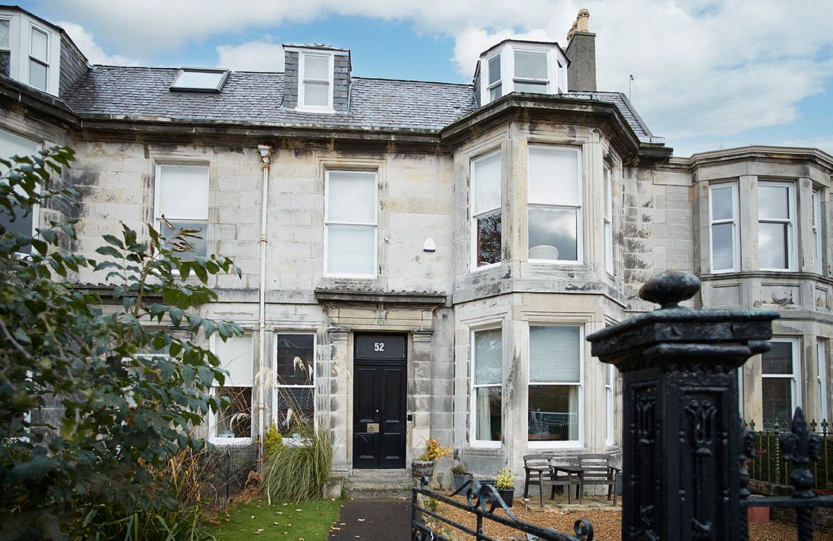 Bellevue Villa occupies the upper two floors of a traditional Georgian townhouse situated on a quiet tree lined crescent in the centre of Ayr