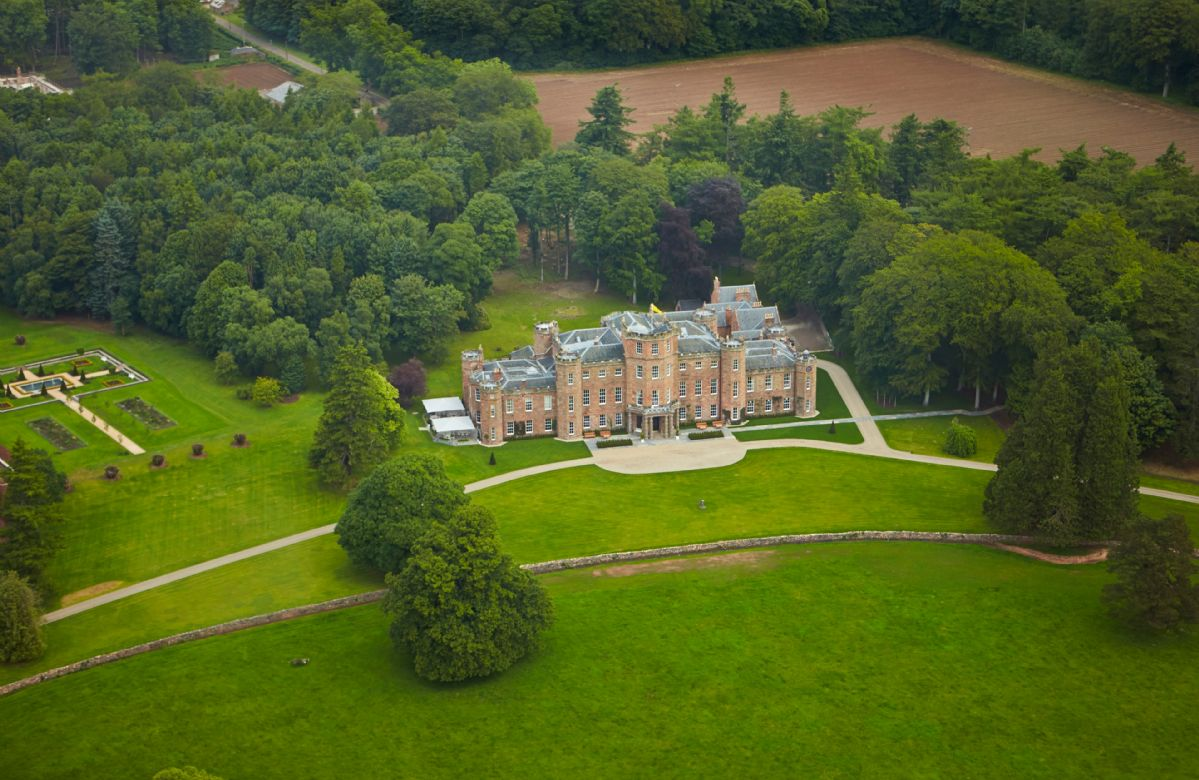 Aerial shot of Fasque Castle