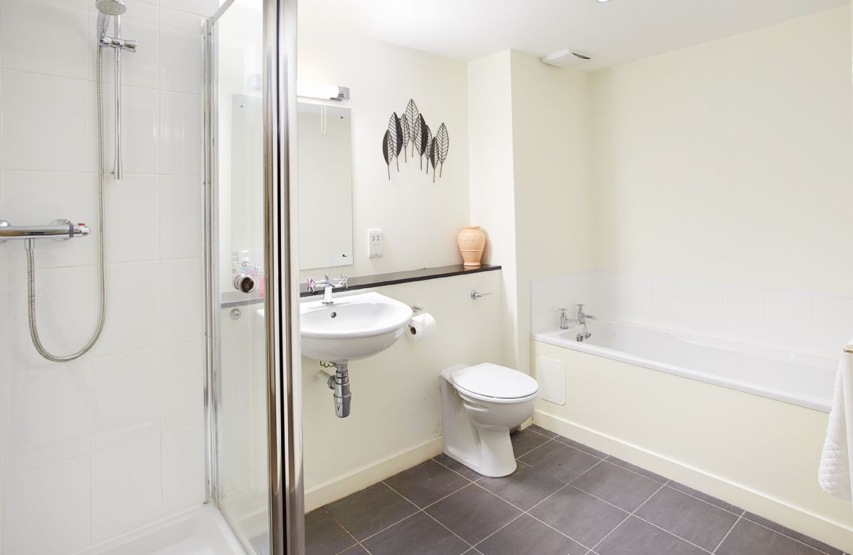 Ground floor: Master bedroom en-suite bathroom with both bath and separate shower