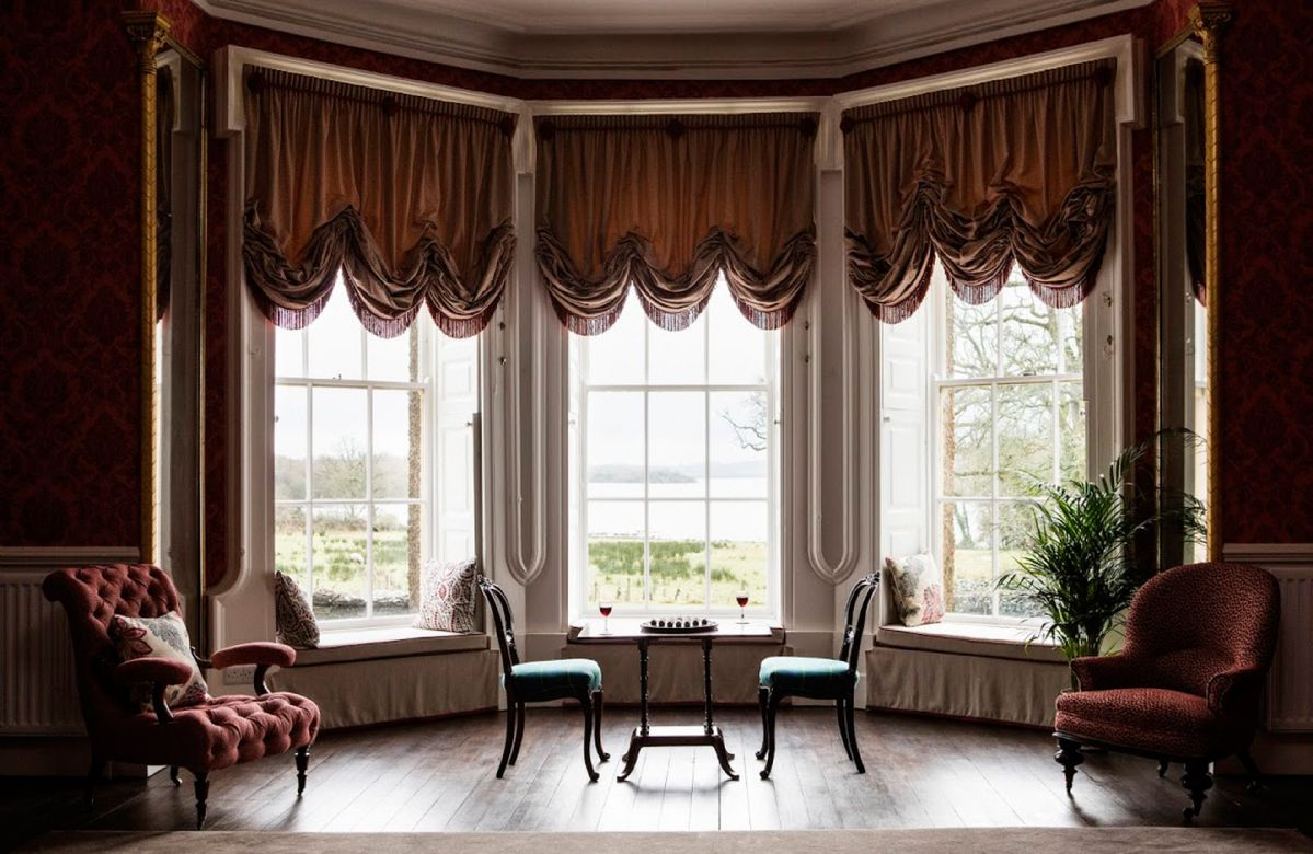 Abercorn Wing Ground floor: Second drawing room overlooking the lake