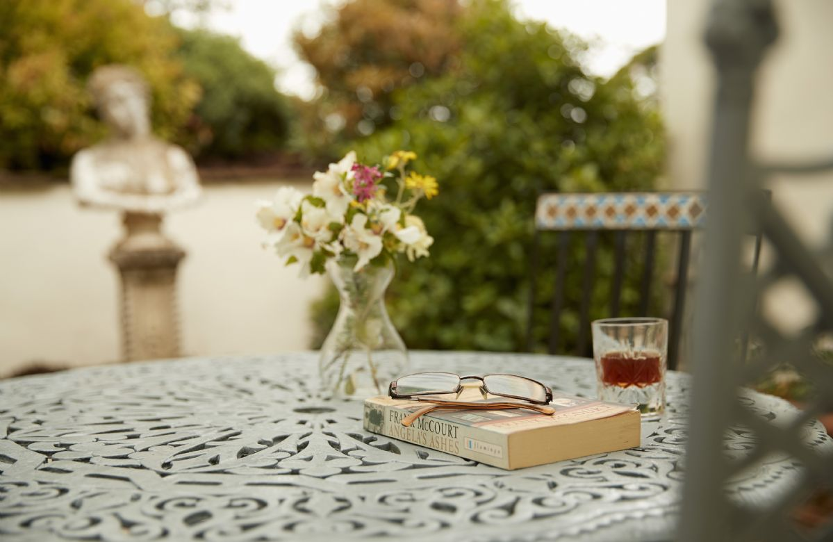 The Library has its own private courtyard, one of many separate spaces in the peaceful and tranquil garden