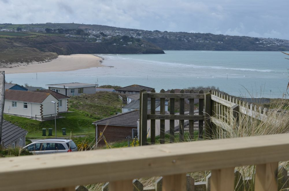 View from the balcony looking at Carbis Bay and Lelant beach