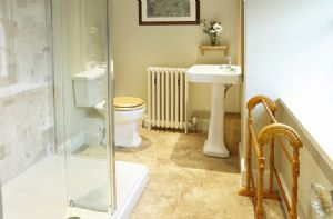 First floor:  En-suite shower room to Jacobean bedroom