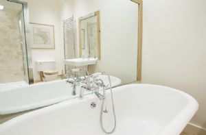 Hause Hall Farm, First floor: The Master en-suite bathroom with bath and separate shower
