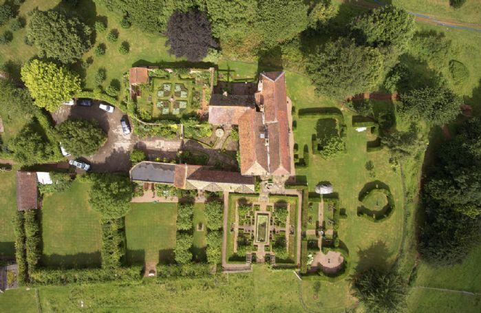 An aerial view of Pauntley Court including Elinor Fettiplace