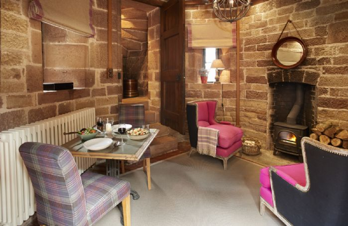 Ground floor:  Dining room with wood burning stove