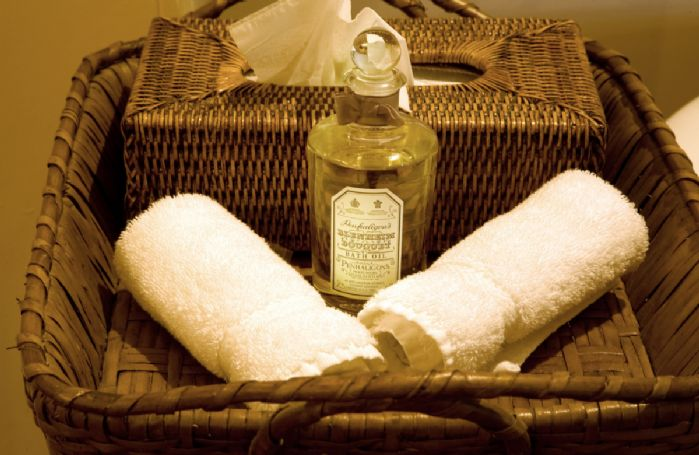 Run a bath using the Penhaligon's bath oils, dim the lights and enjoy a glass of champagne in front of the fireplace