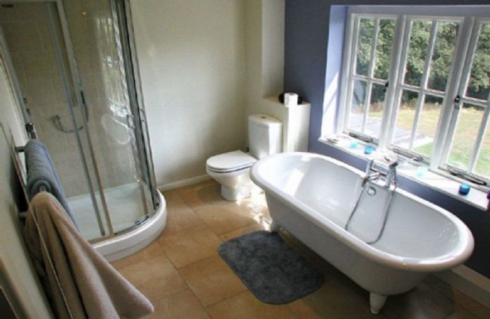 First floor:  Bathroom with double bath and separate power shower