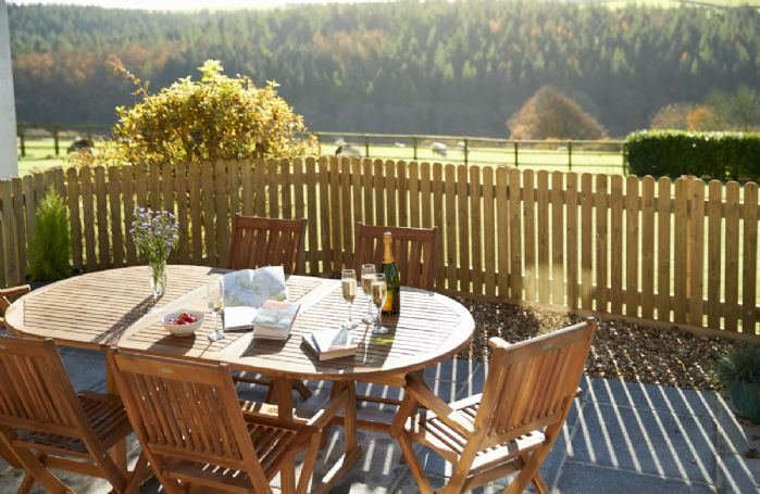 The private patio with its uninterrupted countryside views is a real highlight of the cottage