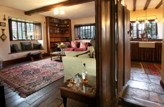 Ground floor: Wood panelled library with double aspect views