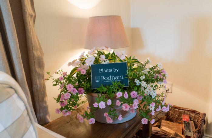 Fresh flowers provided by Bodnant Garden Centre await your arrival