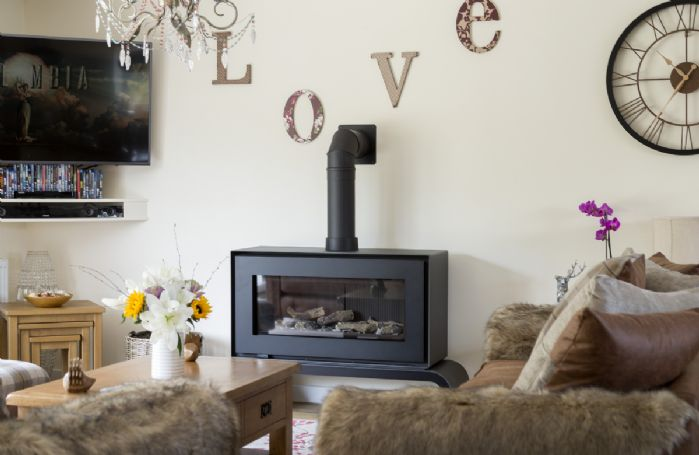 The log effect gas stove is perfect for cosy evenings curled up in front on the TV