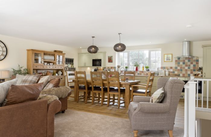 First floor: Spacious open plan kitchen, dining and sitting room
