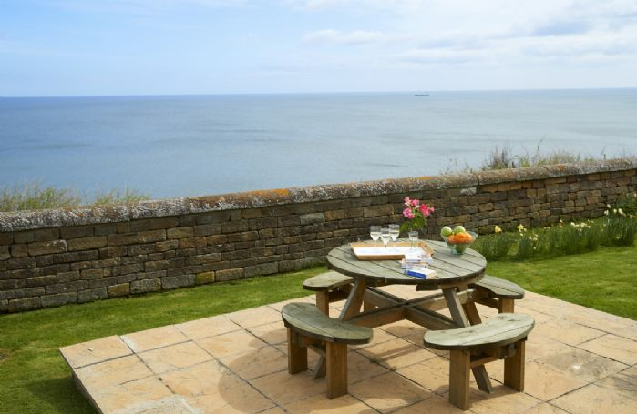 Patio with stunning sea views