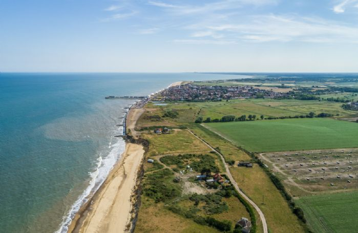 Views from the skies above the sea looking over Southwold