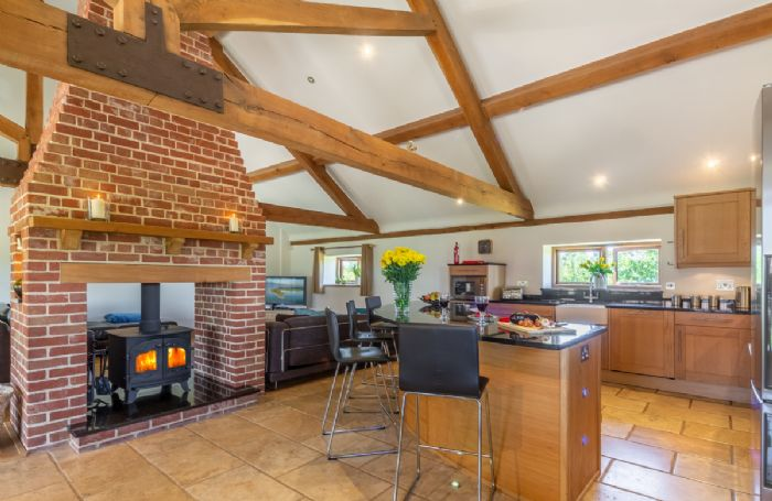 First Floor: Open plan Kitchen, dining & sitting area with wood burning stove