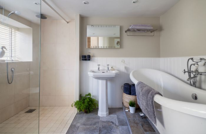 Ground floor: The luxury bathroom with underfloor heating and walk in shower