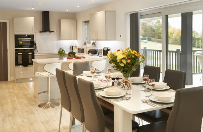 Ground floor: The elegant open plan dining room seating eight guests