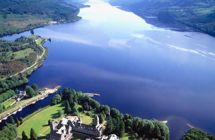 Ariel shot of Fort Augustas nestled on the shores of Loch Ness