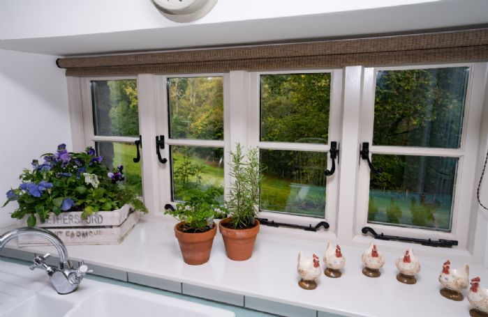 Lovely window scene from the kitchen with woodland views