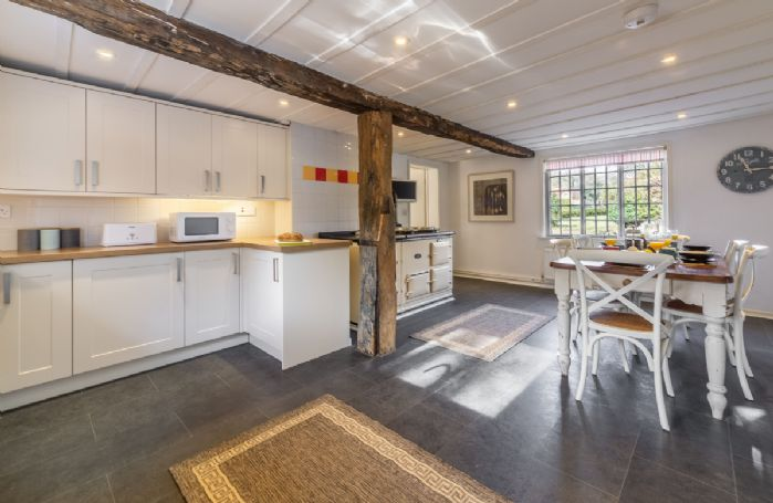 Ground floor: Large open plan kitchen and dining room with traditional features