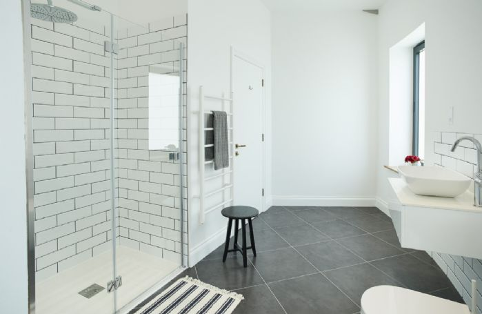 First floor: Family bathroom with walk in shower
