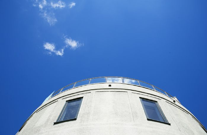 View looking up to the top of The Tower