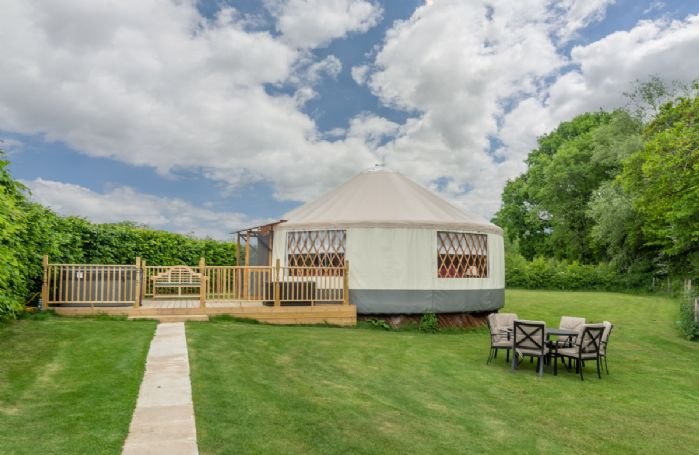Willow Yurt is a high quality luxury yurt with large windows, French doors and a beautiful clear dome