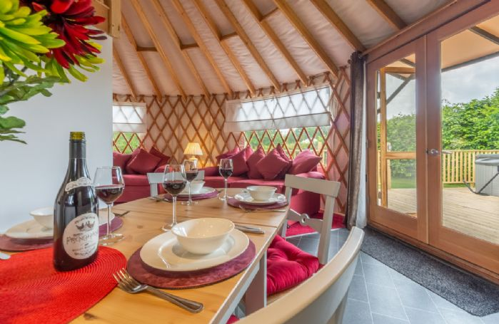 Enjoy dining in the open plan space with views out to the countryside
