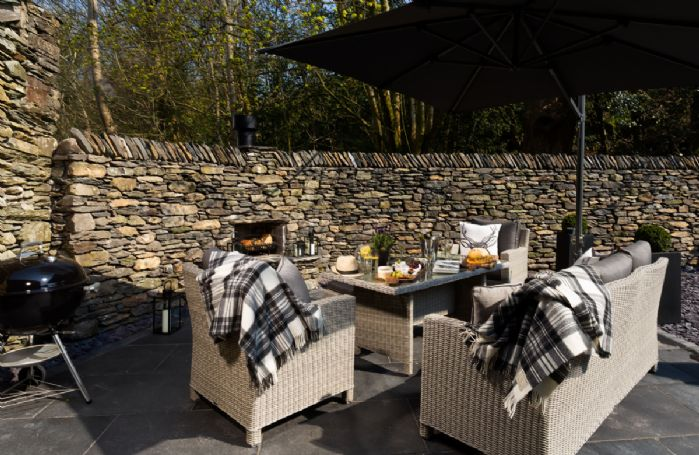 Garden furniture and feature outdoor fireplace