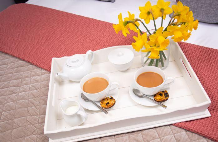 Breakfast tray with beautiful daffodils