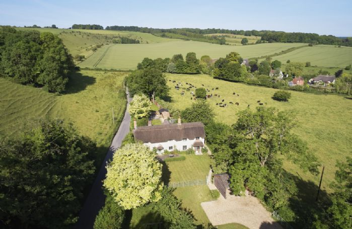 Aerial view of Carters Cottage and the beautiful surrounding countryside