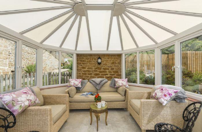 Garden room with beautiful views across to Golden Cap