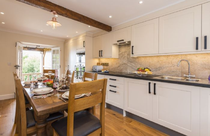 Ground floor: Kitchen and dining room with views across to the sea