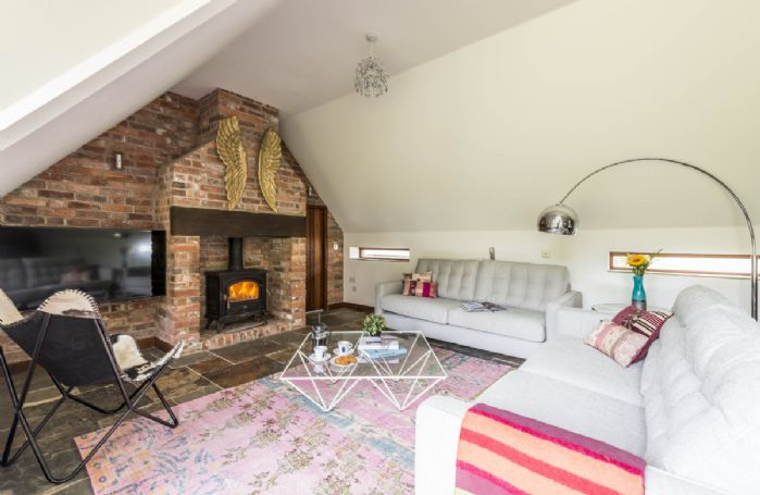 Ground floor: Family room with wood burning stove