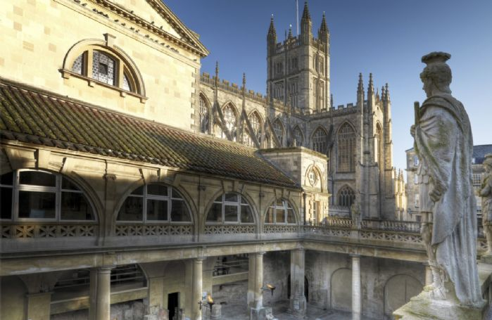 Visit Bath with its Roman Baths and Abbey