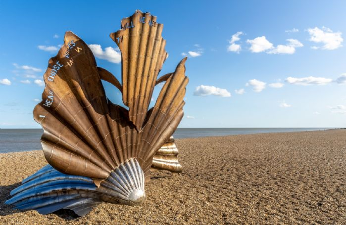 Maggi Hambling Shell is located on the shingle beach of Aldeburgh