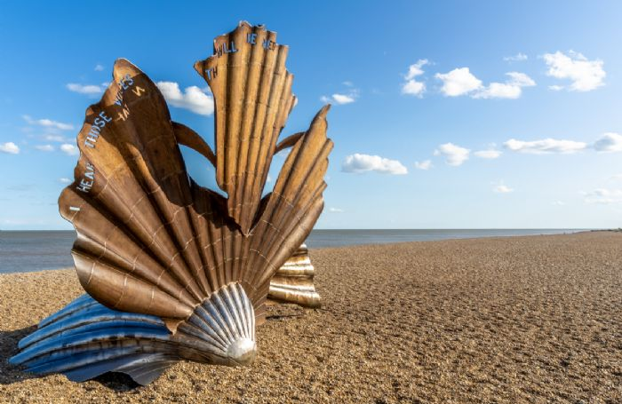 Maggi Hambling's sculpture The Scallop is located on the shingle beach of Aldeburgh