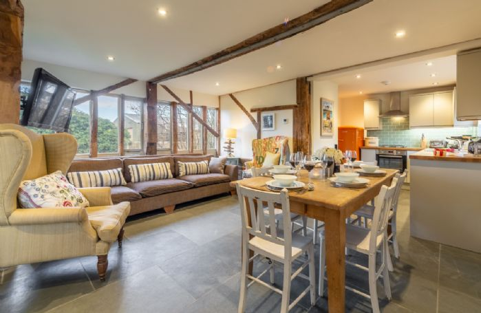 Ground floor: Open plan living with space for all six guests
