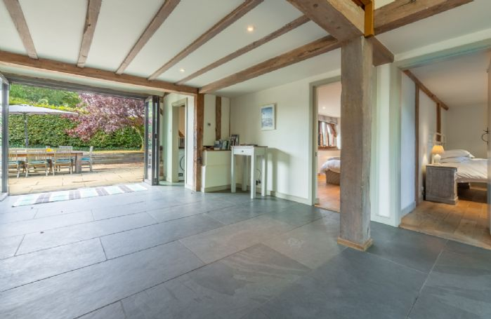 Butley Barn ground floor: Entrance hall leading to bedrooms five and six